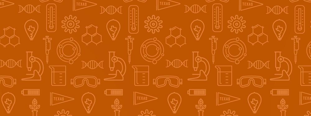 illustration with pattern of symbols like beaker, Texas pennant, lightbulb