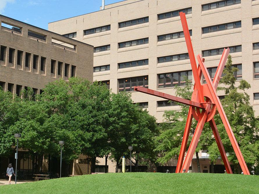 Clock Knot sculpture on UT campus